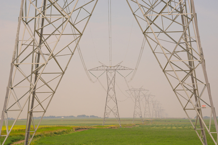 Landscape of HVDC Transmission Towers in Alberta Canada. Stock Photo