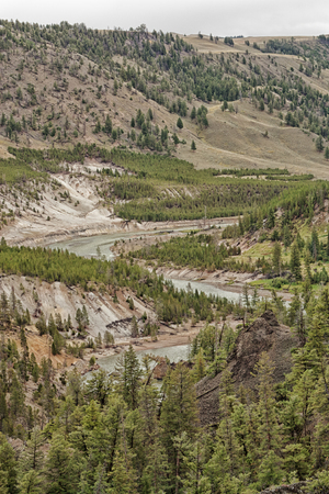 Portrait Landscape of the winding Yellowstone River, Wyoming, USA. Stock Photo