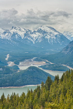 Landscape of Barrier Lake with snow capped mountains, Kananaskis, Alberta. Stock Photo