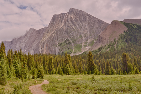 Landscape of Mount Chester with a hiking trail in the foreground, Kananaskis, Alberta