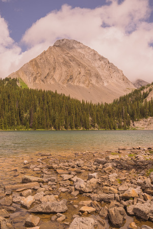 Landscape of Gusty Peak Mountain with Chester Lake in the foreground, Kananaskis, Alberta Stock Photo