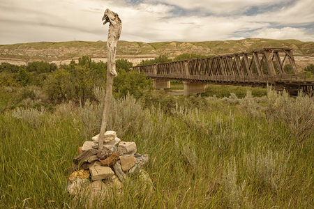 Landscape of the East Coulee Truss Bridge in the badlands of Alberta, Canada.