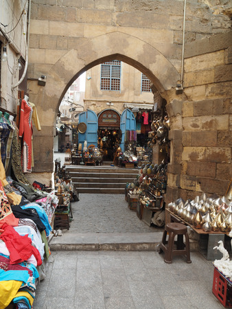 Khan el-Khalili Market, Jordan - March 4th, 2018: Souvenir shop is selling their product to tourist in Khan el-Khalili Market.
