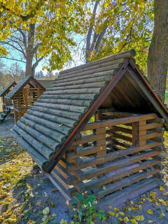 Heilbronn, Germany - Nov 17th, 2018 : Playhouse made from wood in State Park, Heilbronn