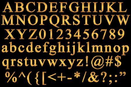 letras de oro: Alfabeto latino Foto de archivo