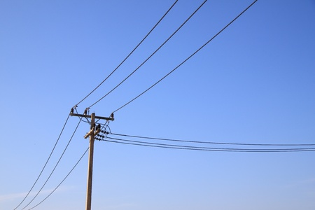 Electric pole which separated wire. photo