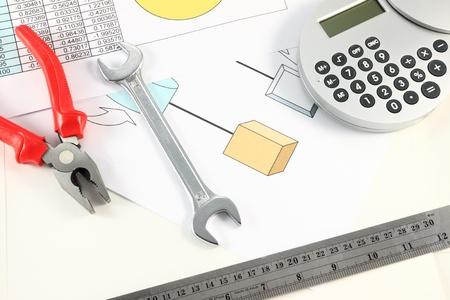 Engineer desktop with hand tools. photo