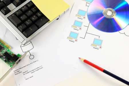 Computer service desktop with compact disc. Stock Photo - 9659962
