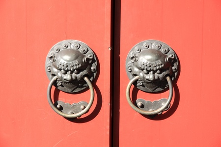 Door handle of chinese temple.