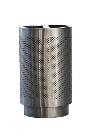 Stainless steel trashcan Stock Photo