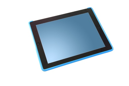 Blue screen tablet perspective. Stock Photo - 10740396
