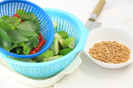 Fresh vegetable and grain protein for cooking.