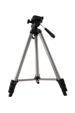 Camera tripod of photographer on white background Stock Photo