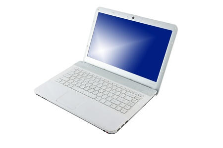 Computer notebook blue screen on white background. Stock Photo - 11373692