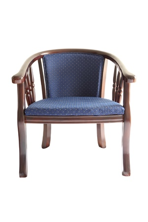 antique chair: Wooden armchair with blue fabric on white background.