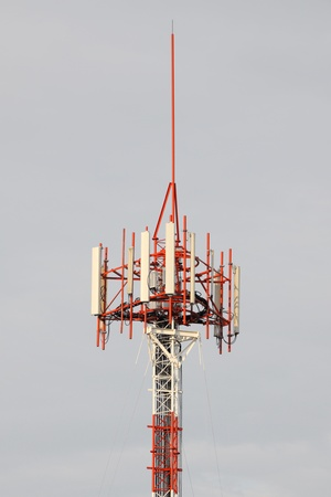 Top of cellular mobile antenna of some local telecommunication. Stock Photo