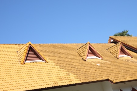gable: Gable on the yellow roof.