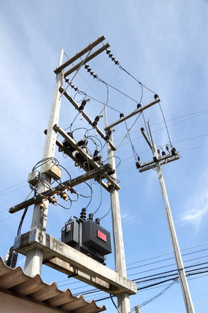 Confusion of connection of electric pole junction. Stock Photo