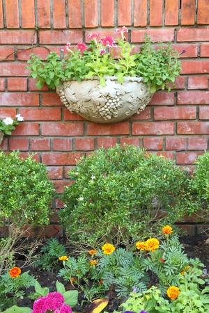 Garden decoration brick wall. photo