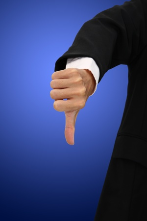 Showing thumb for non approval on blur body suit. Stock Photo - 11595000