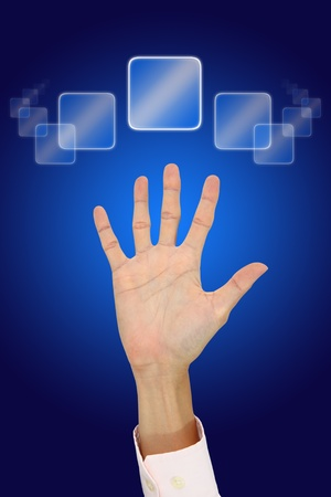 Hand of man calling for help from helpdesk system. Stock Photo - 11595010