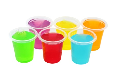 Multiple cold jellies in plastic cup.