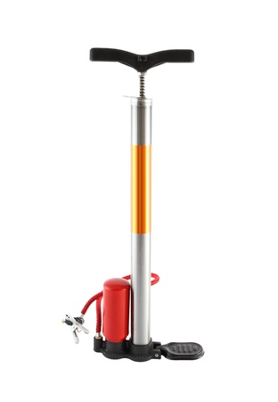 Bicycle air pump with red air bottle.