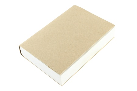 Blank brown cover book closed on white background. Stock Photo