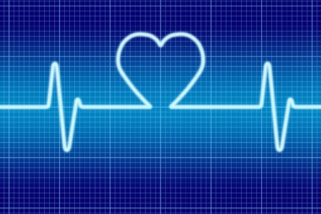 oscilloscope: Blue heart singal oscilloscope.