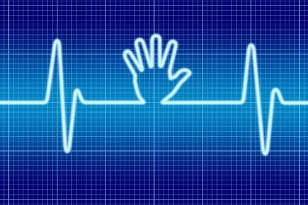 Blue hand help signal oscilloscope.
