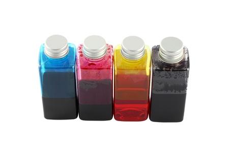Bouteilles d'encre couleur de l'imprimante jet d'encre. Banque d'images - 11936232