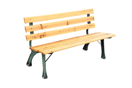 Wooden and iron leg bench on white background.
