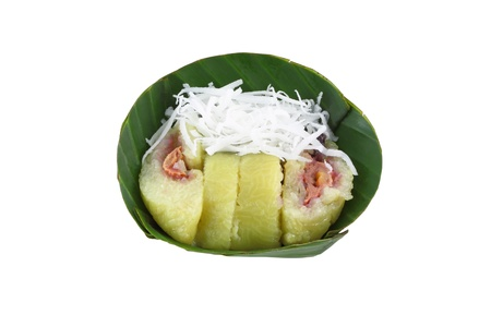 Banana steam in stocky rice on banana leaf.
