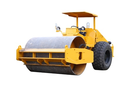 heavy equipment: Dirty road roller on white background.