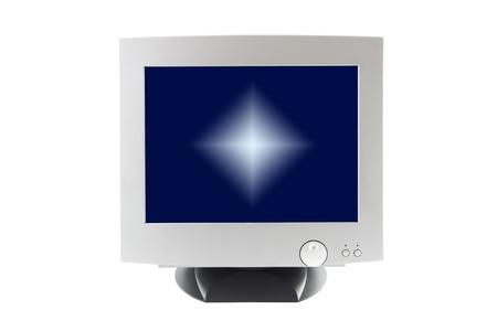 Cathode ray tube monitor on white background. Stock Photo - 12459043