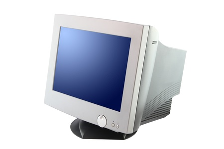 Side of cathode ray tube monitor on white background. Stock Photo