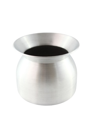 Stainless pot for sticky rice cooking on white background