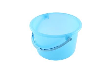 Blue plastic bucket on white background. photo