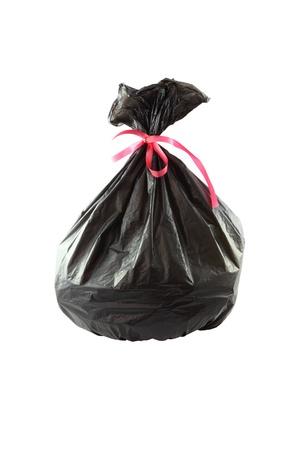 black plastic garbage bag: Black plastic garbage bag on white background  Stock Photo