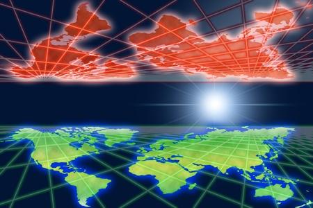 reflexion: Reflexion of global warming world in space.