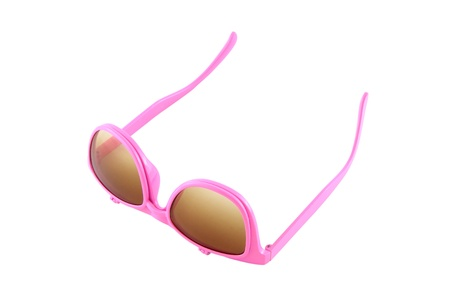 Turn up pink eye glasses with sun shield on white background. Stock Photo - 13164904