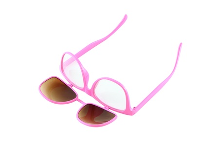 Turn up pink eye glasses with open sun shield on white background. Stock Photo - 13164905