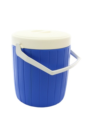 Blue round plastic cooler closed on white background. photo