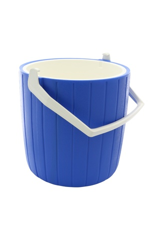 Blue round plastic cooler opened on white background.