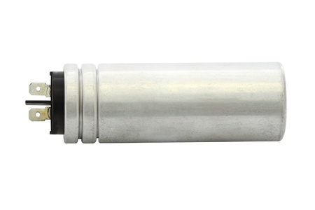 Silver can capacitor on white background.