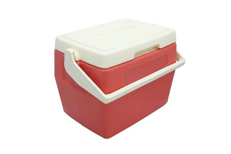 Plastic cooler box closed cover on white background. Stock Photo