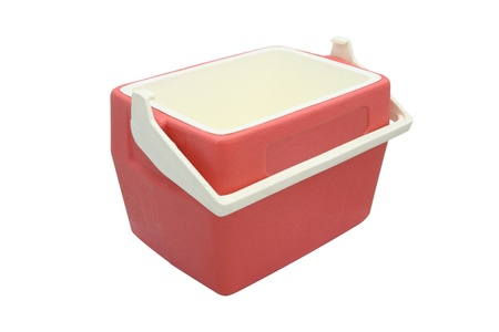 Plastic cooler box opened cover on white background. Stock Photo
