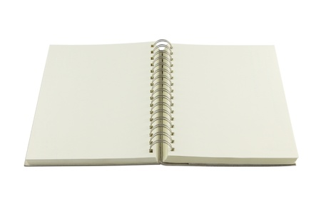 Perspective opened ring bind note book on white background  photo
