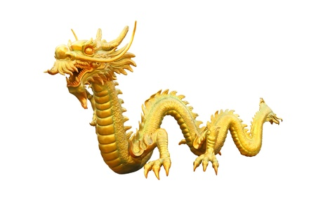 Golden dragon from public area on white background  photo