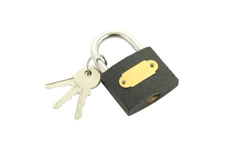 Old black padlock with key on white background. Stock Photo - 14071041